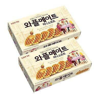 Korean snack Lotte WAFFLE MATE Honey Butter Soft Biscuit cookie (144g) pack of 2