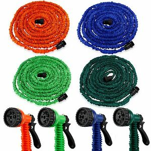 Deluxe-25-50-75-100-Feet-Expandable-Flexible-Garden-Water-Hose-w-Spray-Nozzle