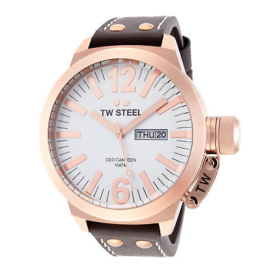 TW Steel CE1017 Men's Canteen 45mm Rose Gold-Tone White Dial Leather Watch
