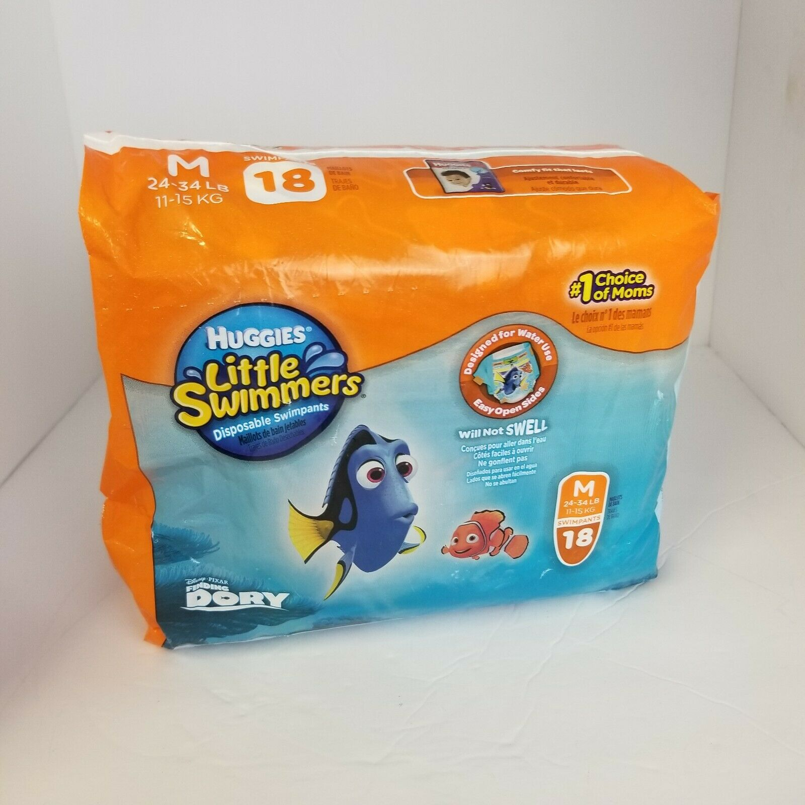 Huggies Little Swimmers Size M 24-34 Pounds 18 Count Disposable Swimpants New