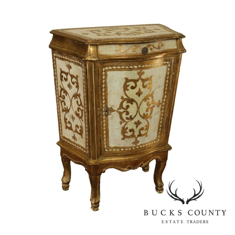 Italian Gilt and Cream Florentine Painted Vintage Accent Chest or Nightstand