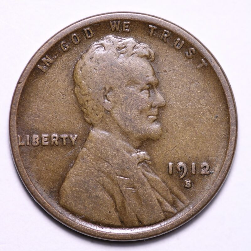 FINE 1912-S Lincoln Wheat Cent Penny FREE SHIPPING - $20.02