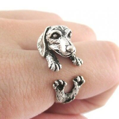 Antique Silver 925 Realistic Dog Dachshund Wrapping Ring for Girl Variable Size