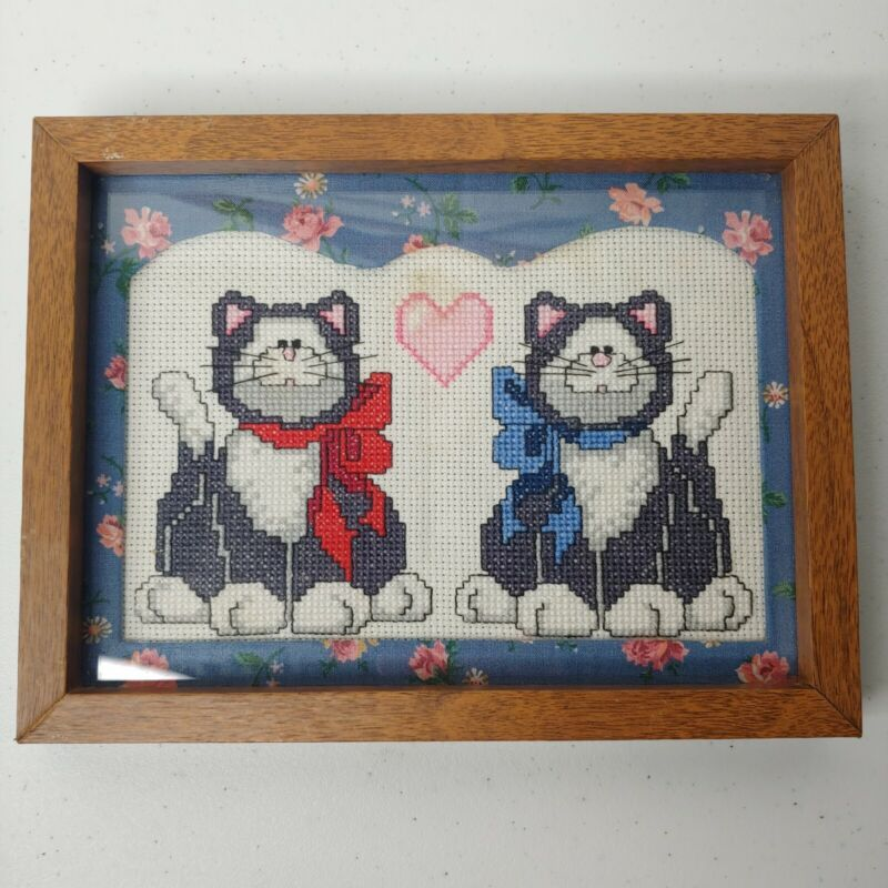 Hanmade Completed Framed Cats In Bows Cross Stitch Wood Floral Mat Heart 8.5x6.5