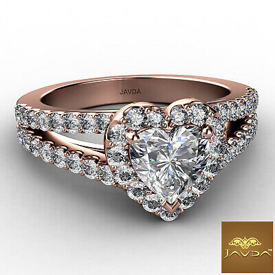 Halo French Pave Split Shank Heart Cut Diamond Engagement Ring GIA F VS1 1.25Ct 9