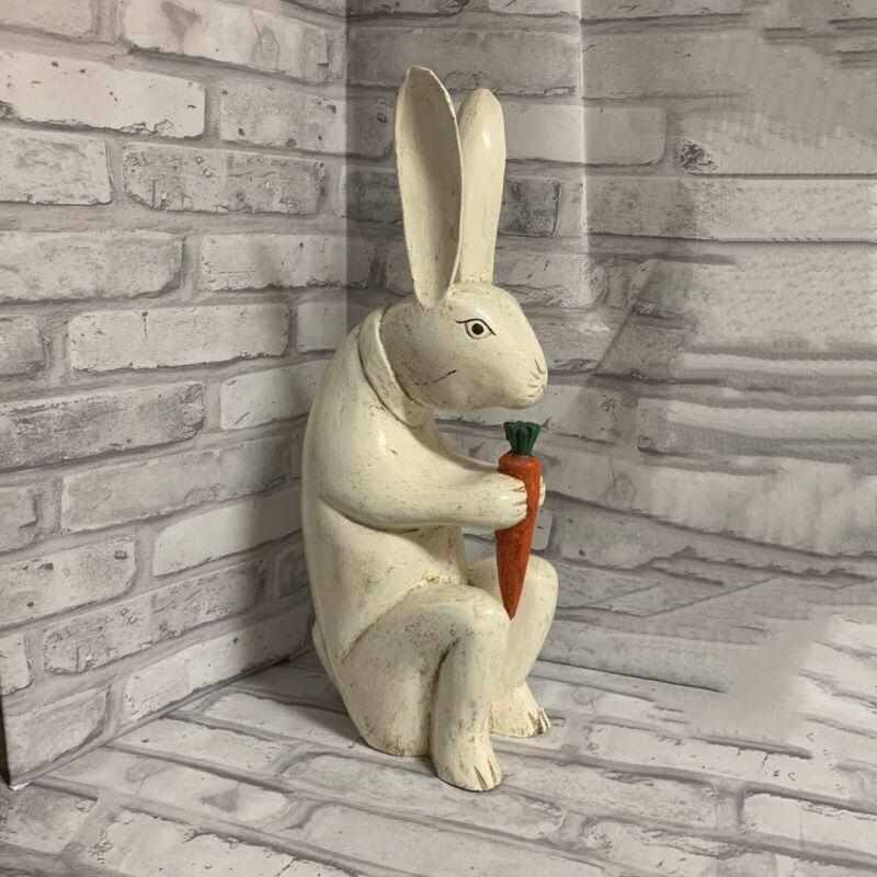 White Rabbit Figurine Eating Carrot Wood Vintage Home Decor