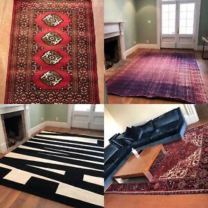 Small red rug, large: purple rug, family rug, Persian rug