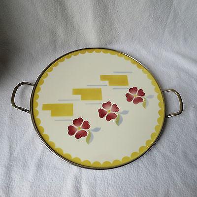 Art Deco grosse runde alte Tortenplatte Kuchenplatte Keramik Spritzdekor Griffe