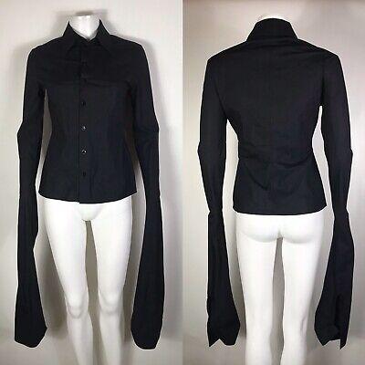 Jpg Vintage Long Sleeve - Rare Vtg Jean Paul Gaultier Black Extra Long Sleeve Shirt S