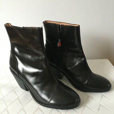 Jeffrey Campbell Handmade Ibiza Last Black Leather Ankle Boots Side Zip  UK 6, E