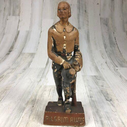 "Vintage Pilgrim Rum Chalkware Back Bar Store Display Statue Sign 12"" Tall"