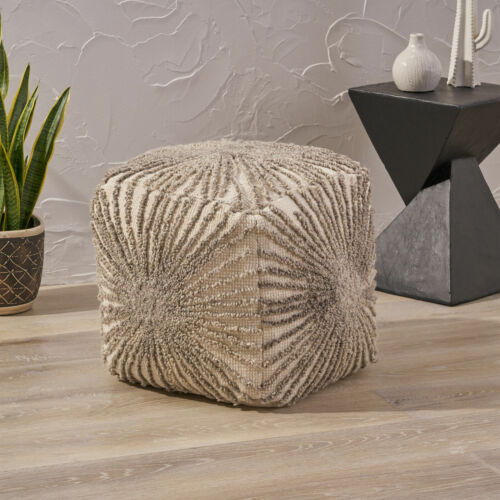Amyri Boho Wool and Cotton Ottoman Pouf Furniture