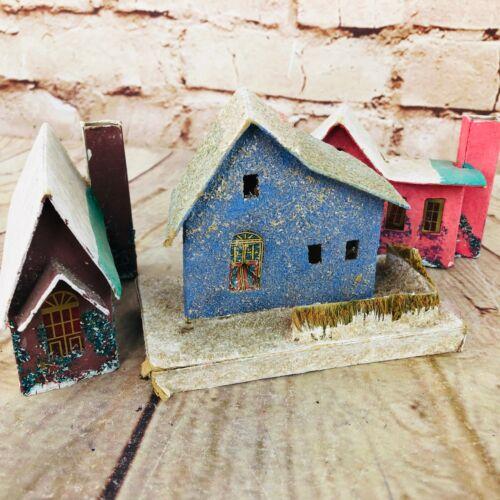 3  Vtg putz House Made In Japan Christmas village decor glitter MCM