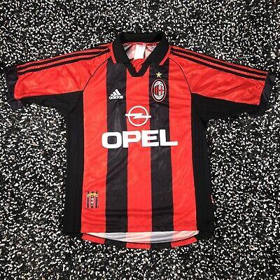 Vintage 90s Rare Ac Milan Shirt Adidas Soccer Jersey 1998 OPEL Striped Medium