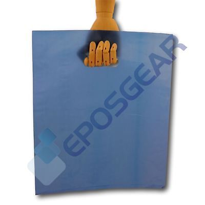 100 Large Blue Punch Out Handle Gift Fashion Party Market Plastic Carrier Bags