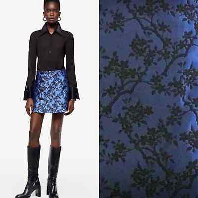 ZARA Blue Jacquard Mini Skirt - Large