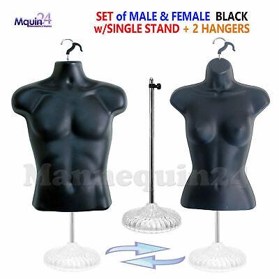 Male Female Mannequin Torso Dress Body Forms Set Black 1 Stand 2 Hangers