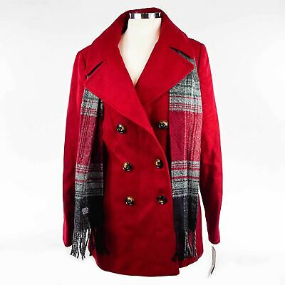 London Fog Women's Double Breasted Peacoat with Scarf, red,