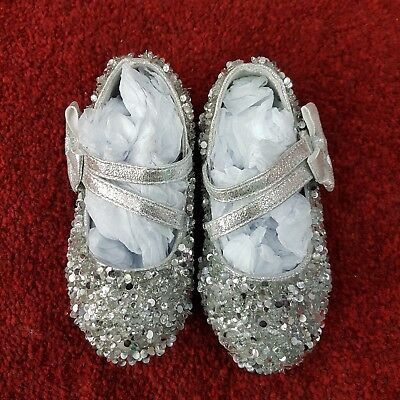 Girls Sequinned Shoes (Silver-LS-01 )Party, Flower-Girl, Bridesmaid, Communion,