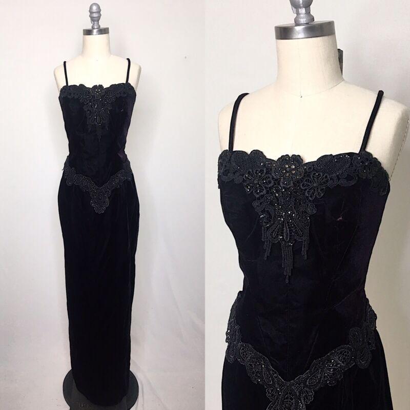 Vintage 80s Loralie Velvet Skirt & Bustier Set Size Small