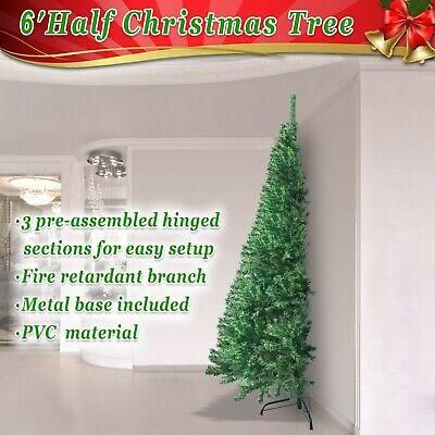 6' Artificial Wall Christmas Tree with Metal Stand Space Saving Half Corner Tree ()