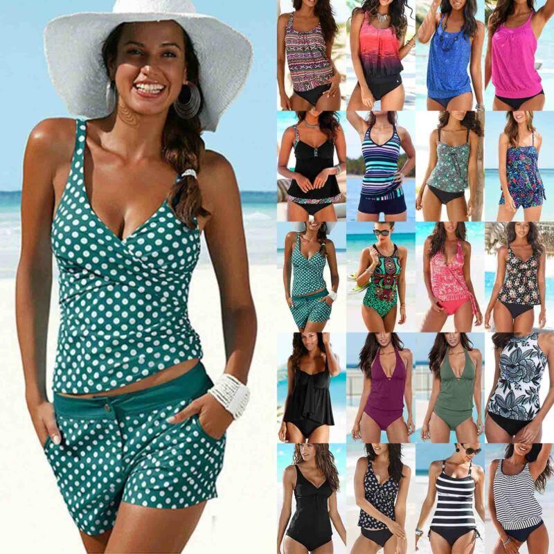 Damen Boho Tankini Set Bikini Bademode Tops + Slips Badeanzug Schwimmanzug 32-48
