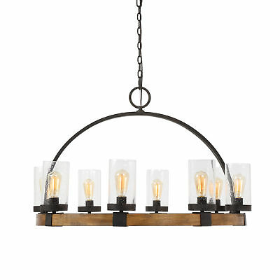 Used, Mid Century Modern Industrial Wagon Wheel Chandelier | 8 Light Round Wood Iron for sale  Shipping to Canada
