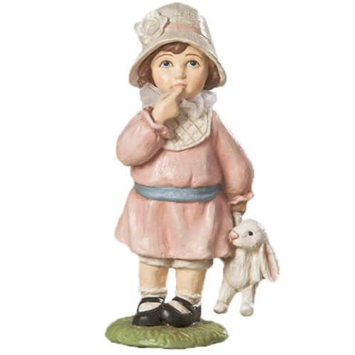 """5.5"""" Bethany Lowe Easter Greeting Girl Child Bunny Pastel Spring Figurine Decor"""