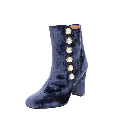 RRP €330 LOUIS LEEMAN Velvet Ankle Boots EU 36 UK 3.5 US 6 Studded Made in Italy