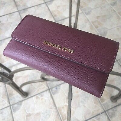 Michael Kors Women Leather id Credit Card Holder Long Trifold Wallet Clutch Lady
