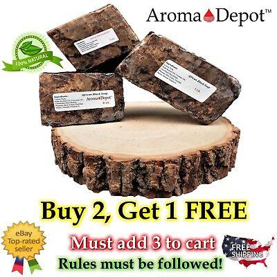Raw African Black Soap BAR Organic Unrefined GHANA 2 oz to 1 Lb 100% Natural