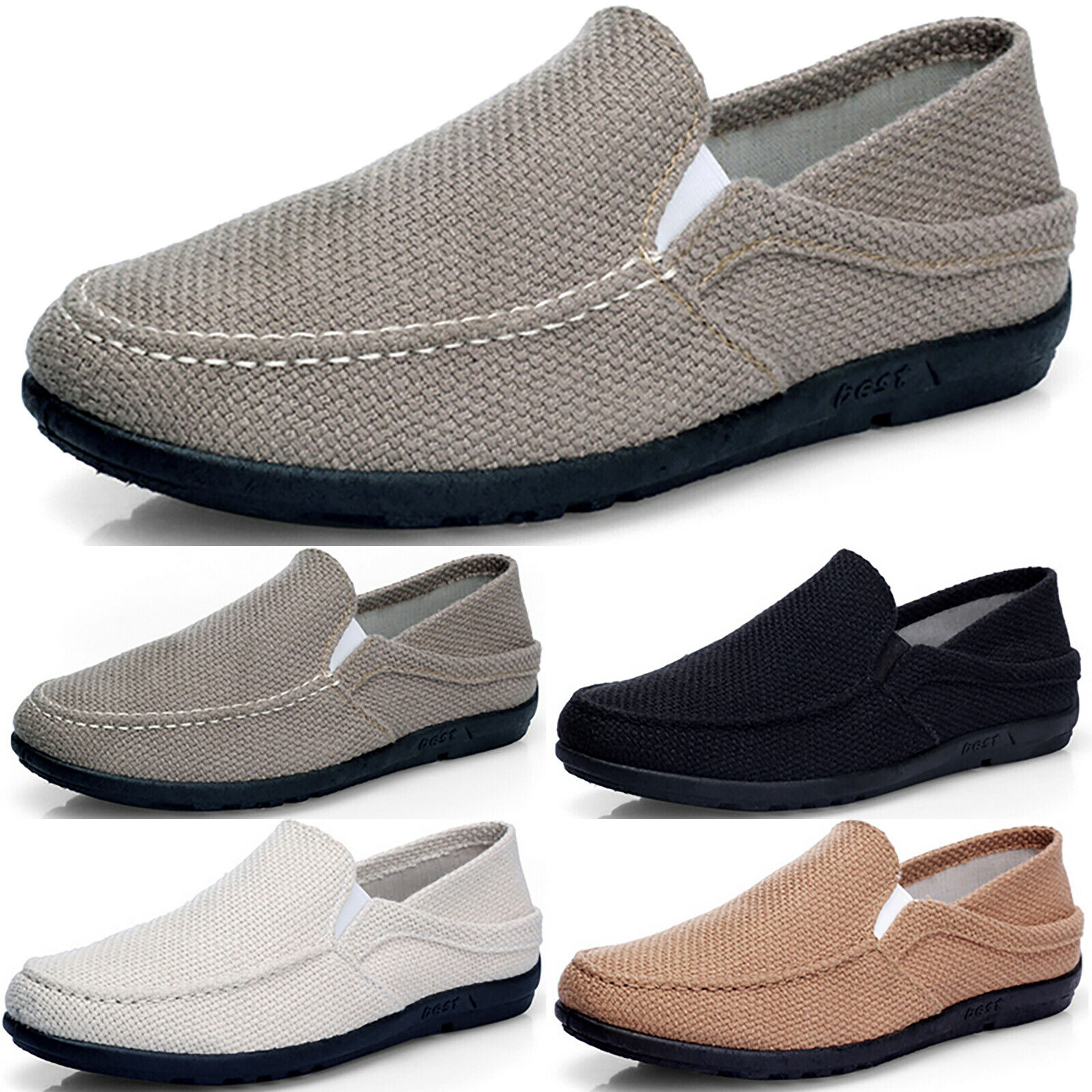 Men's Casual Driving Shoes Slip On Canvas Loafers Moccasins Smart Flats Shoes US