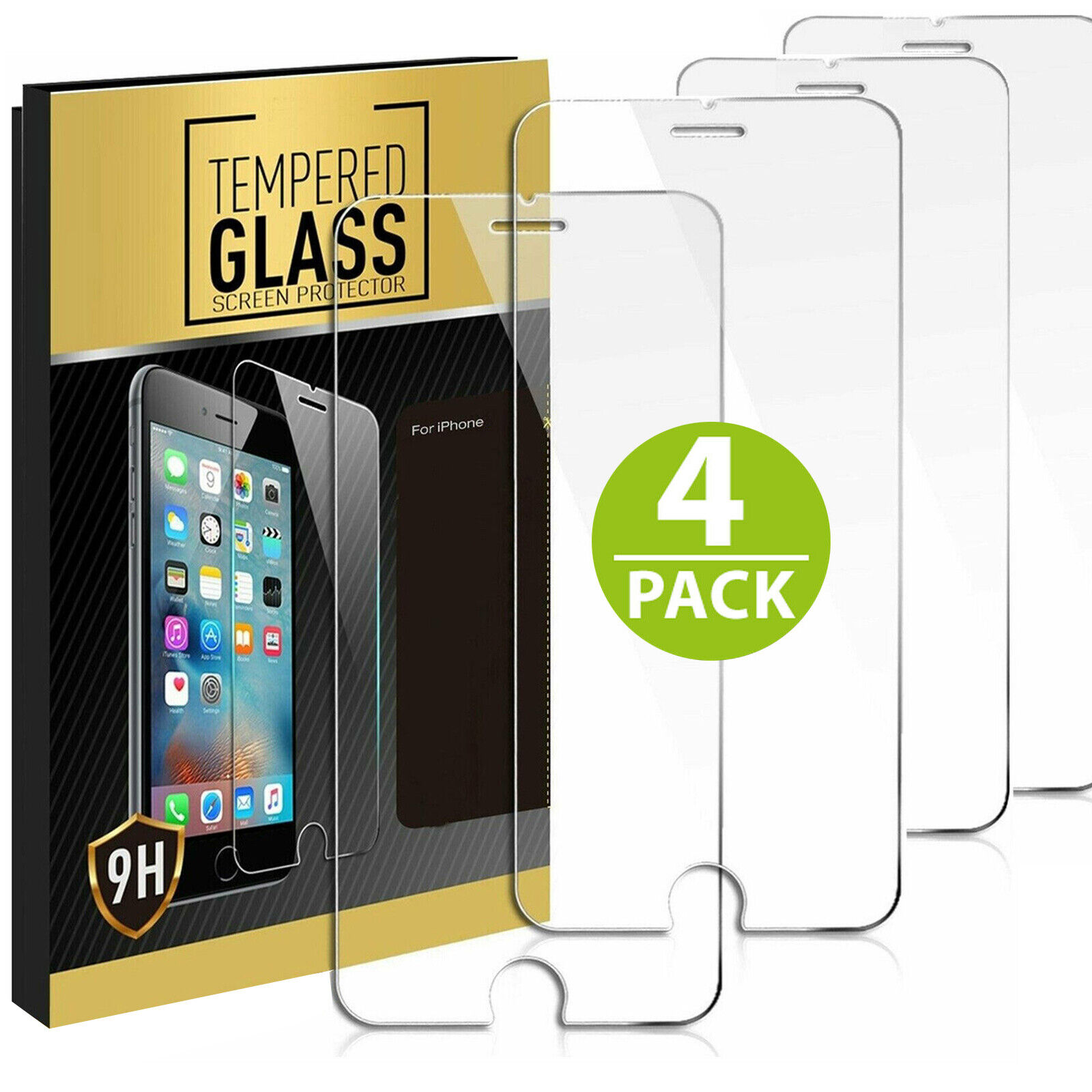 4x Panzerfolie Für iPhone 6 / 7 / 8 Echt Glas 9H Schutzglas Displayschutzfolie