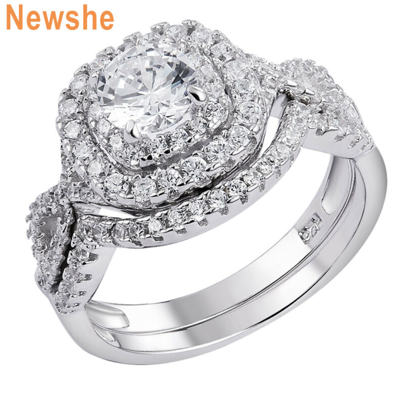 Newshe Wedding Engagement Ring Set 925 Sterling Silver 1.8ct Round White Cz 5-12