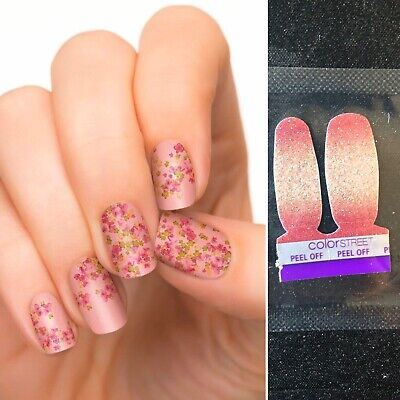 Incoco Nail Strips Cherry Blossoms W/Color Street Coral Bay Accent Pack- New!