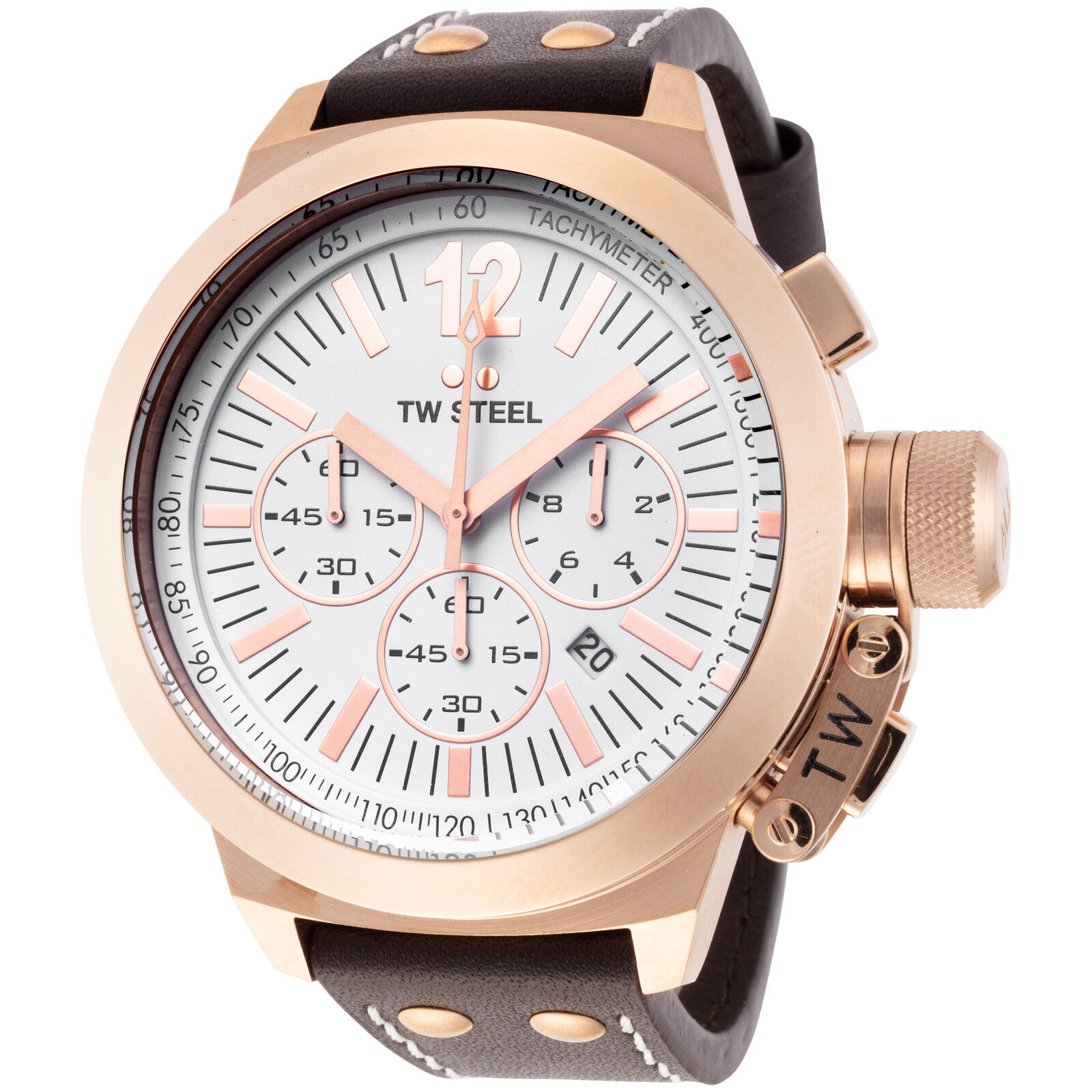Brown Canteen Leather Steel White Men's About Ce1020 Chronograph Dial Details 50mm Tw Watch fYb7y6vg