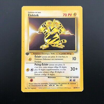 Carte Pokémon Elektek Rare 1 ère Edition 20/102 Set De Base