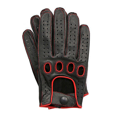 MEN'S 100% GENUINE LEATHER DRIVING GLOVES REVERSE STITCH CHAUFFEUR SWIFT WEARS Leather Reversible Gloves