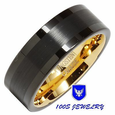 Mens Tungsten Carbide Ring Brushed Black Wedding Band 14K Gold Plated Size 6-13 14k Tungsten Ring