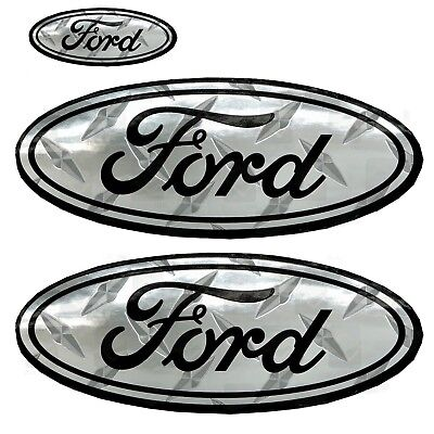 - Ford Chrome Diamond Tread 3 Decals on 1 sheet for car truck hood trunk window