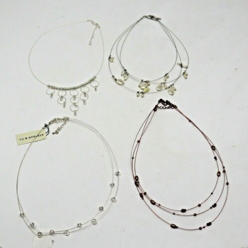 4 pc chokers necklaces multistrand/circles/faux pearls/rhinestones/wired