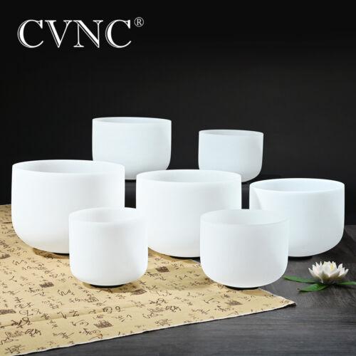 "CVNC 440hz 7""-12"" 7 Pcs Quartz Crystal Singing Bowl Chakra Set Mallet"