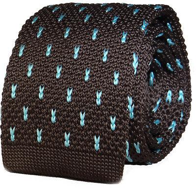 Luxury Mens Brown Sky Blue Chevrons Woven Tie Necktie Solid Knitted Skinny Sky Blue Mens Tie