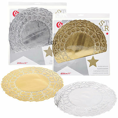 24 x Round Gold Silver Lace Paper Doilies Coaster Set Christmas Wedding Catering