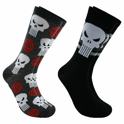 Hyp Marvel Comics The Punisher Men's Crew Socks 2 Pair Pack Shoe Size 6-12