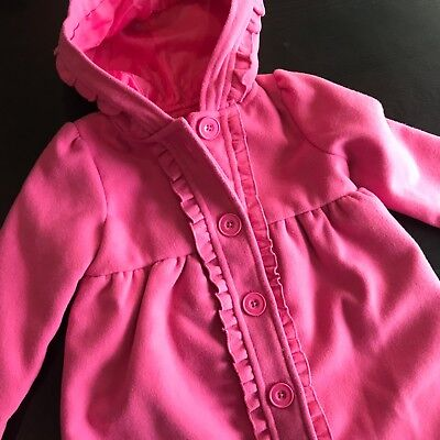 Pink Hooded Pea Coat Girls 24 Months Lined Savannah Jacket Button Down Bow