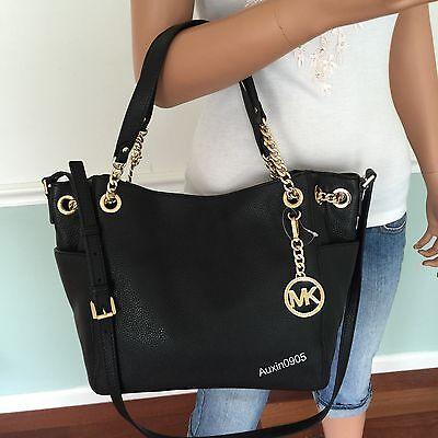 NEW! MICHAEL KORS Black Leather Shoulder Crossbody Bag Chain Tote Purse Handbag