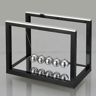 1x Black Newtons Cradle Fun Steel Balance Ball Physics Science Toy Accessory New