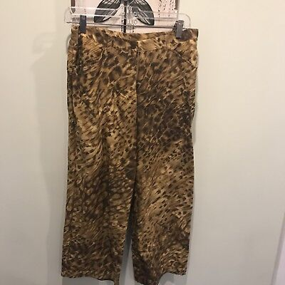 Womens Easy Spirit Animal Print Size 8 Pants Silk/Linen Blend Cropped Nice  ()
