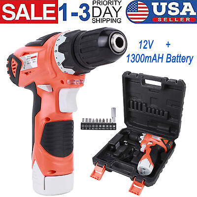 12 Volt Power Tool Rechargeable Cordless Electric Screwdriver Drill Kit Wireless